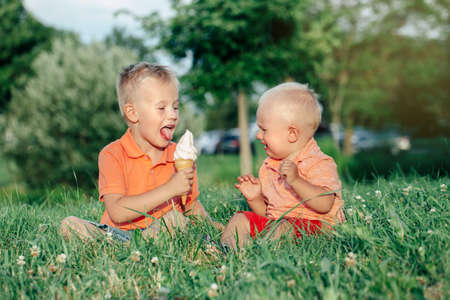 Dos hermanos caucásicos de los muchachos de los niños divertidos que se sientan juntos comiendo compartiendo un helado. Niño pequeño bebé llorando y hermano mayor burlándose de él. Amor envidia hermanos celosos amistad.