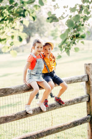 Two cute funny Caucasian children boy girl sitting on wooden rustic fence in park outside. Friends siblings kids hugging at summer sunset in countryside. Romantic love and friendship. Banco de Imagens - 129729110