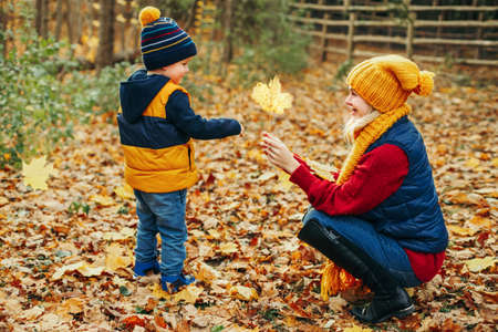Mom and son gathering yellow orange fallen leaves. Caucasian young mother playing with cute adorable toddler boy in autumn fall park outdoor. Family activity outside. Seasonal concept.