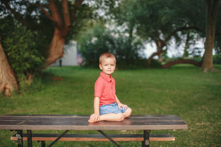 Portrait of cute adorable toddler boy sitting alone in park. Baby child kid sitting outdoor on summer day looking in camera. Pensive kid thinking. Happy authentic childhood lifestyle. Standard-Bild - 142199000