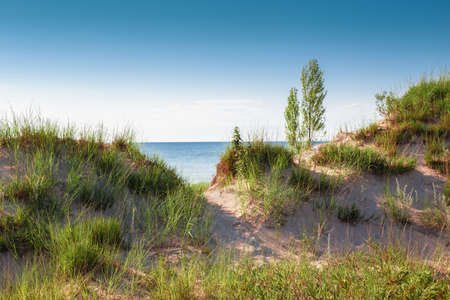 Beautiful day sunset landscape at Canadian Ontario lake Huron in national Pinery Park. Sand dunes and green grass with walk way path to lake. Amazing summer nature view on the beach. Imagens