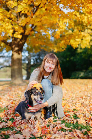 Happy young Caucasian woman sitting in autumn fall yellow leaves hugging her pet dog. Best friends having fun outdoor. Friendship of human person with domestic animal.