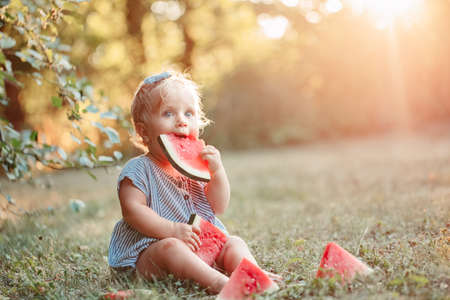 Summer seasonal picnic food. Cute Caucasian baby girl eating ripe red watermelon in park. Funny child kid sitting on ground with fresh fruit outdoors. Solid healthy finger food for toddler kids. Standard-Bild