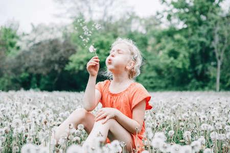 Making a wish. Caucasian girl blowing dandelion flower. Kid sitting in grass on meadow. Outdoor fun summer seasonal children activity. Child having fun outside. Happy childhood lifestyle. Standard-Bild