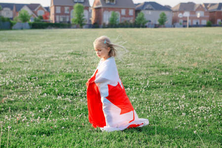 Little girl toddler wrapped in large Canadian flag walking in park meadow outdoor. Canada Day celebration outside. Kid covered with Canadian flag celebrating national Canada Day on 1 of July.