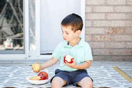 Summer seasonal food. Cute Caucasian preschool boy eating ripe red apple and fruits on backyard. Funny child kid with fresh fruits, apple, banana, pear. Healthy vitamin food for kids children.