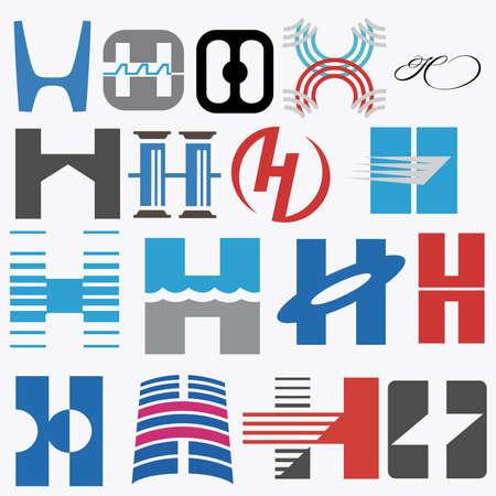 typesetter: Alphabetical icon Design Concepts. Letter H