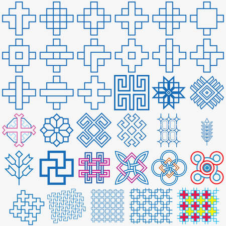 traditional pattern: Traditional Blue Pattern Design Set