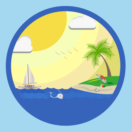 boll: Summer See Beach. A beach where you can see boat, boll, palm tree, fish, umbrella, bird