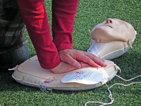 training for lifesaving with AED