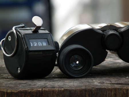 binoculars and counter