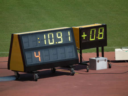 field event: electric scoreboard of track and field event Stock Photo