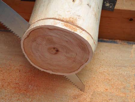 cutting: Log cutting Stock Photo