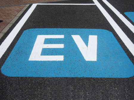 electric automobile: Electric vehicle parking Stock Photo