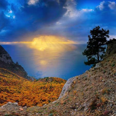 the turks: sun beams on a sea Stock Photo