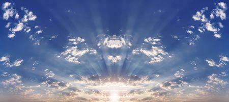 Solar beams make the way through clouds