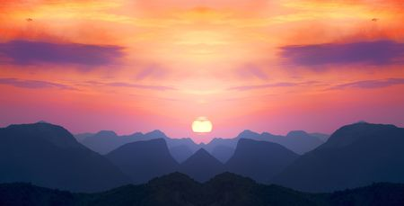 red sunsets in blue mountains Stock Photo - 617714