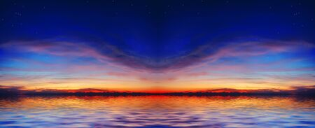 The quiet sea on a background of a beautiful sunset with the moon and stars Stock Photo - 676993