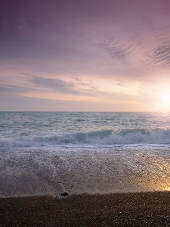 sunset on a background of the storm sea Stock Photo - 742587