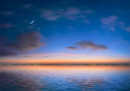 Night city on a background of the sky and ocean Imagens