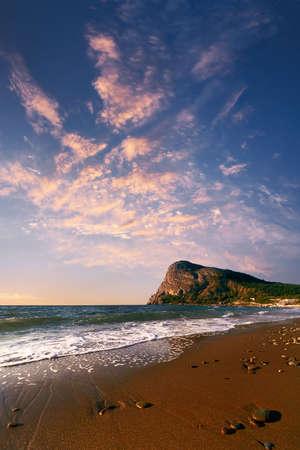 Seacoast on a background of beautiful sunrise
