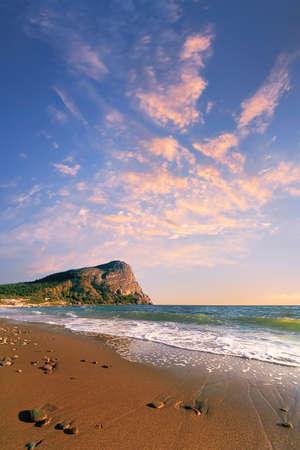 seacoast: Seacoast on a background of beautiful sunrise