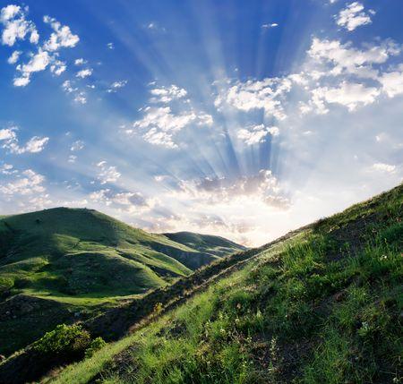 Green grassland and sky