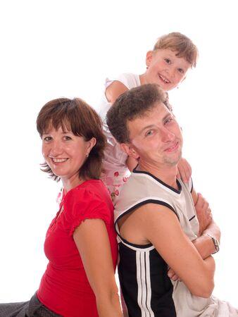 family on a white background photo