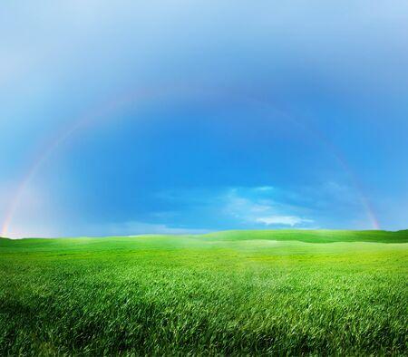 Green grass and rainbow Imagens - 1504550
