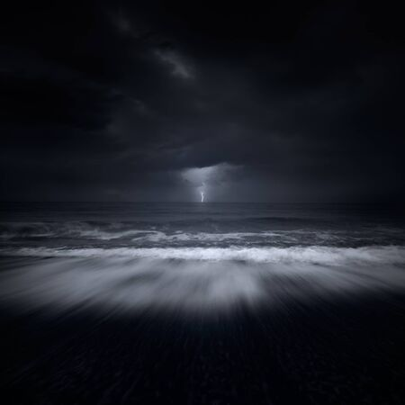 sea storm: storm at sea Stock Photo