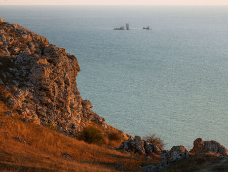Evening seascape. View from the mountain to the sea. photo