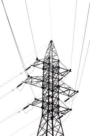 electricity pylon: Electricity pylon isolated on white background.