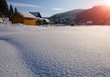 Winter landscape Photographed at sunset in the mountain village. Imagens