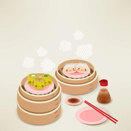Cute Dim sum - Chinese Food Stock Vector - 19977568
