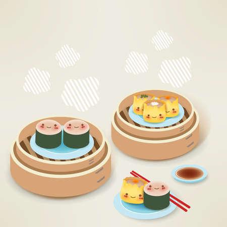 piatto cibo: Carino Dim sum - Cucina cinese Vettoriali