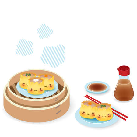 Cute Dim sum - Chinese Food Vector