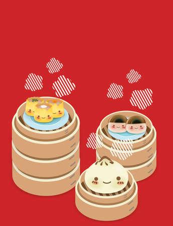 Dim sum mignon - Cuisine chinoise Vecteurs