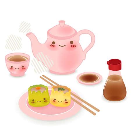 Cute Dim sum - Chinese Food Stock Vector - 19977559