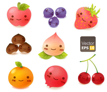 cartoon strawberry: Cute Fruit Collection Illustration