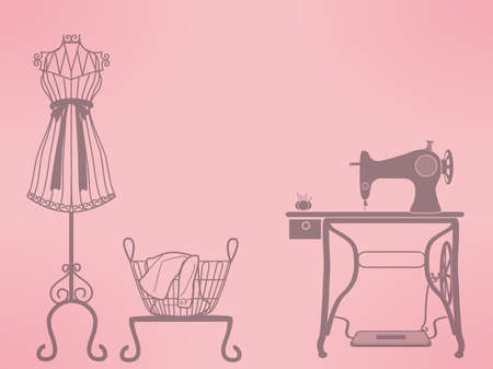 vintage clothing: vintage mannequin and sewing machine