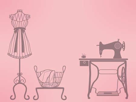 vintage mannequin en naaimachine Vector Illustratie