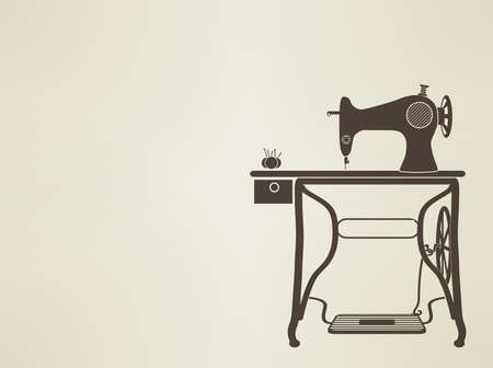 sewing machine: vintage mannequin silhouette  Illustration