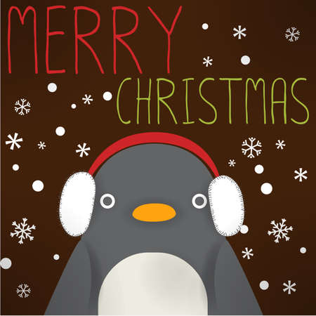 north pole: Penguin - xmas greeting card Illustration