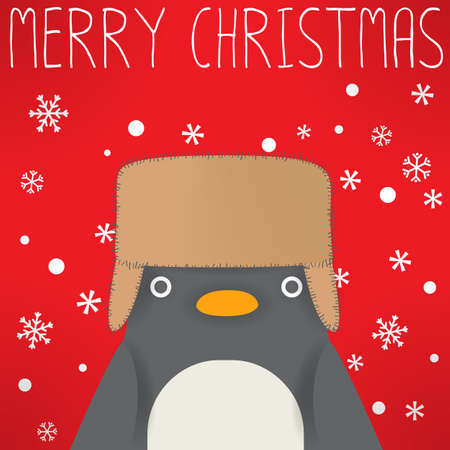 ear muffs: Penguin - xmas greeting card Illustration