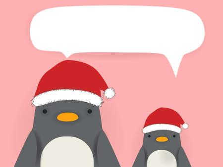 muffs: Penguin - xmas greeting card Illustration