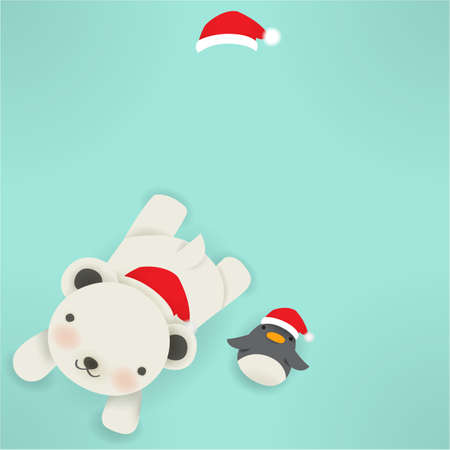 Polar bear & Penguin - xmas greeting card Vector