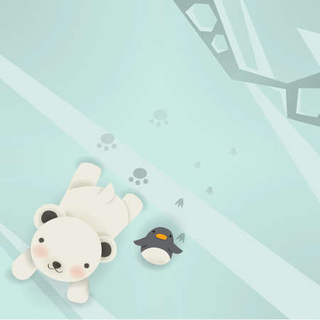 Polar bear & Penguin Vector