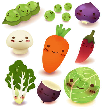 happy healthy woman: Fruit and vegetable Collection   Illustration