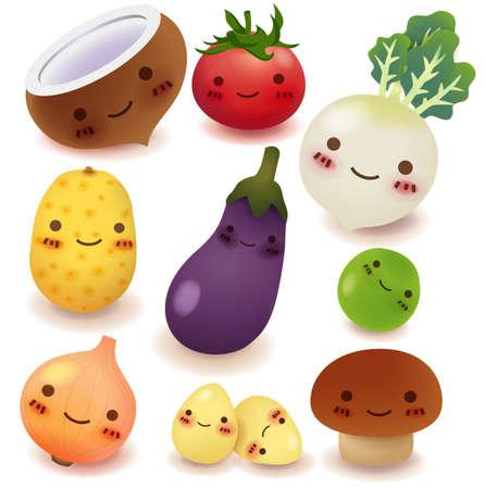 vegetable cartoon: Frutas y verduras Colecci�n