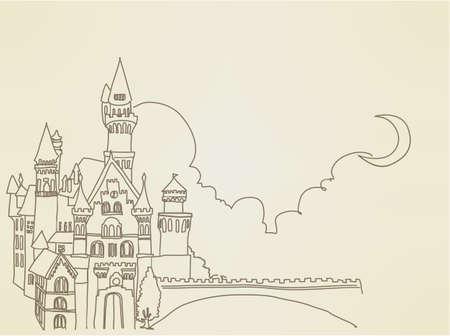 cartoon princess: Vintage Castle   Illustration